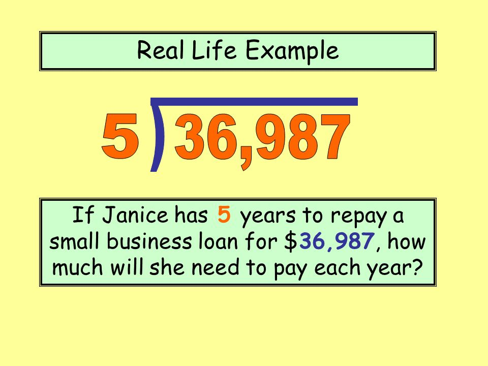 Real Life Example ) 5. 36,987.