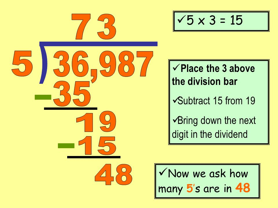 5 x 3 = 15 7. 3. ) 5. 36,987. Place the 3 above the division bar. Subtract 15 from 19. Bring down the next digit in the dividend.