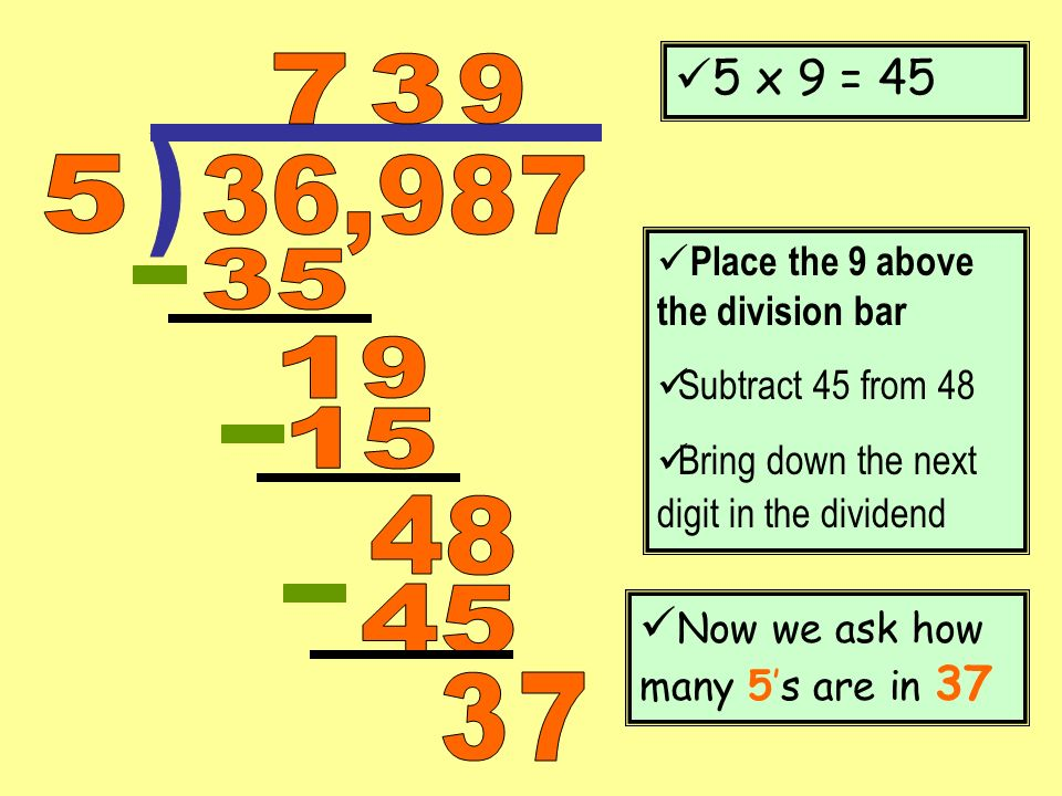 5 x 9 = 45 7. 3. 9. ) 5. 36,987. Place the 9 above the division bar. Subtract 45 from 48. Bring down the next digit in the dividend.