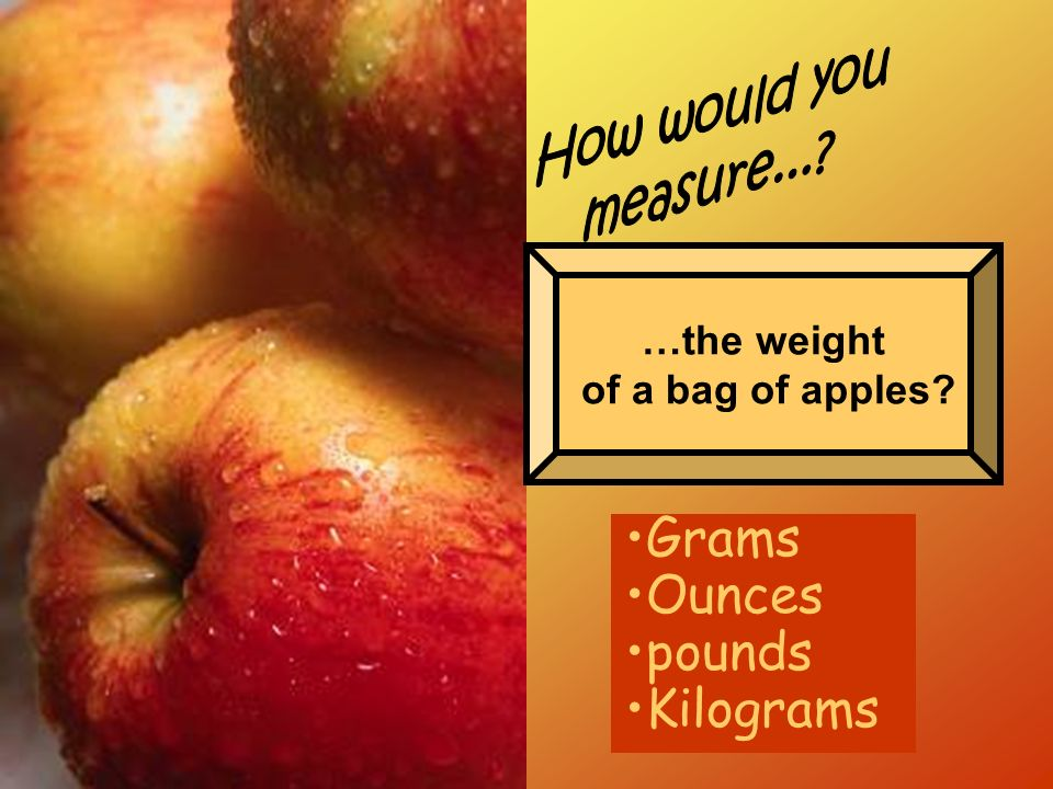 Grams Ounces pounds Kilograms How would you measure... …the weight