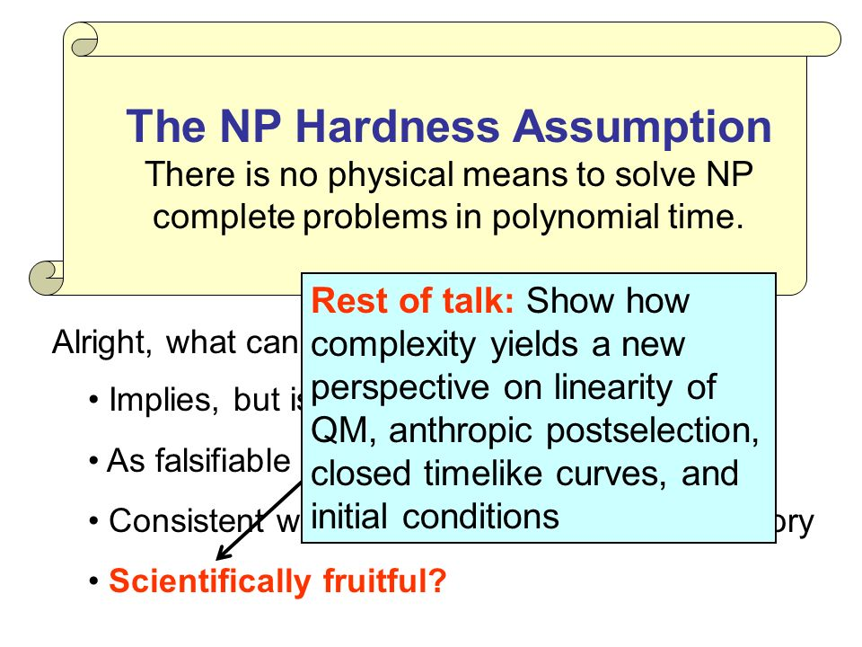 The NP Hardness Assumption There is no physical means to solve NP complete problems in polynomial time.