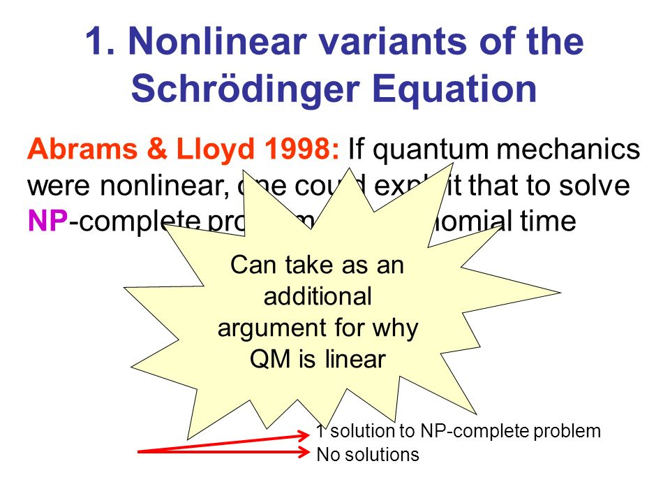 1. Nonlinear variants of the Schrödinger Equation