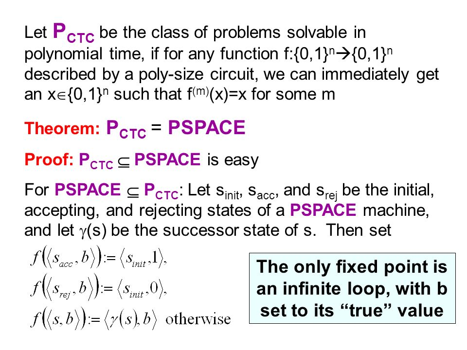 Let PCTC be the class of problems solvable in polynomial time, if for any function f:{0,1}n{0,1}n described by a poly-size circuit, we can immediately get an x{0,1}n such that f(m)(x)=x for some m