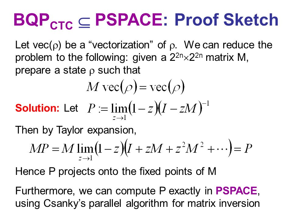 BQPCTC  PSPACE: Proof Sketch