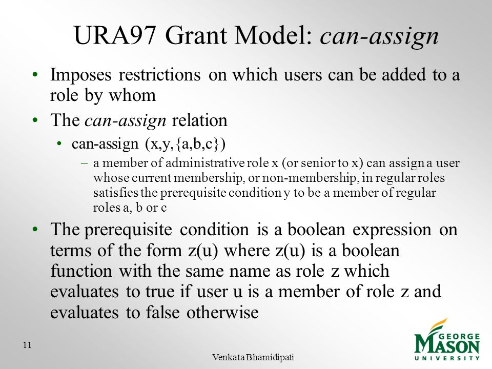 URA97 Grant Model: can-assign