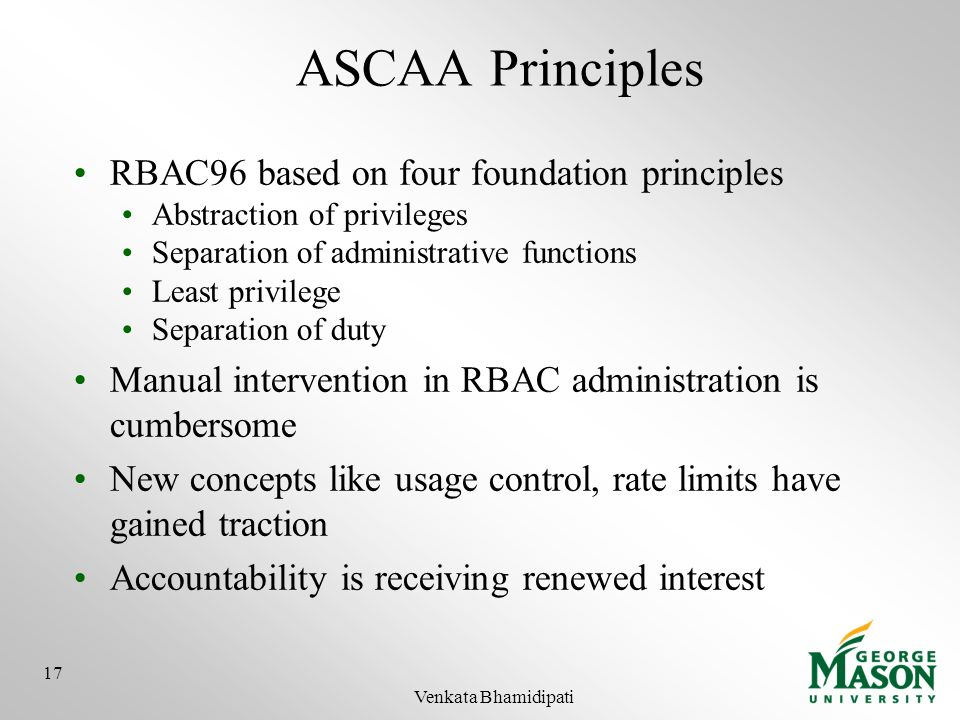 ASCAA Principles RBAC96 based on four foundation principles