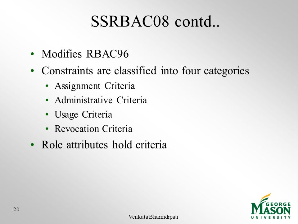 SSRBAC08 contd.. Modifies RBAC96