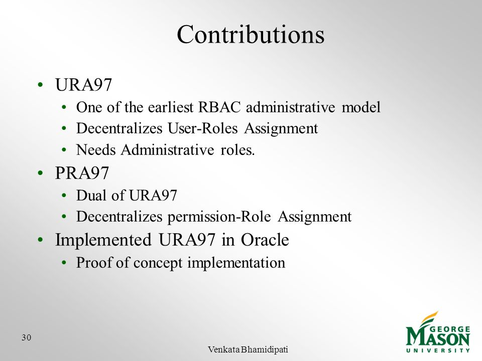 Contributions URA97 PRA97 Implemented URA97 in Oracle