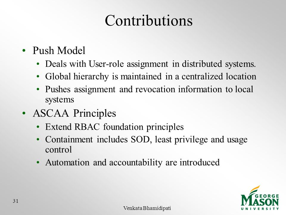 Contributions Push Model ASCAA Principles