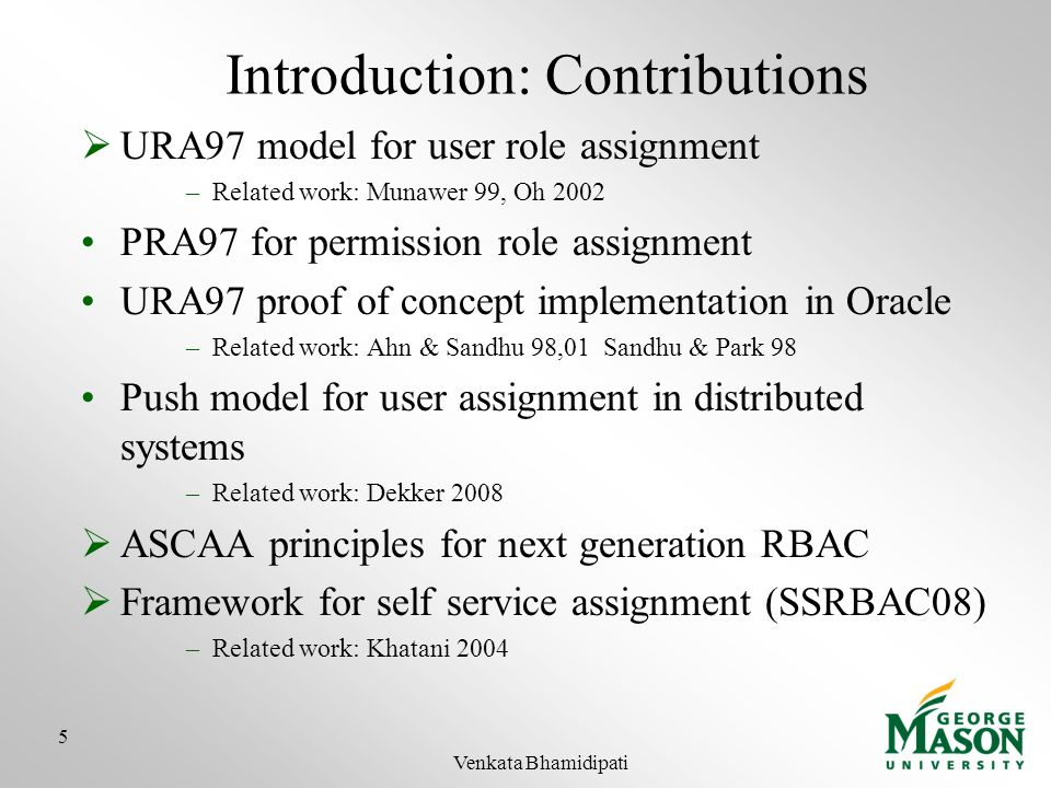 Introduction: Contributions