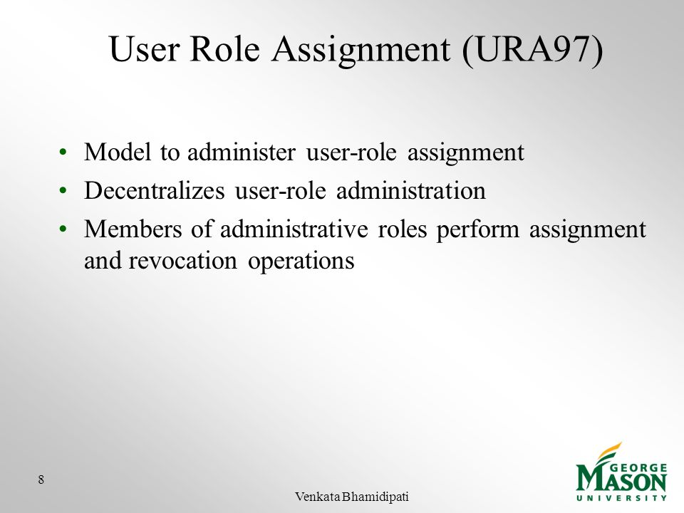 User Role Assignment (URA97)
