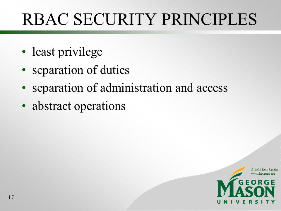 RBAC SECURITY PRINCIPLES