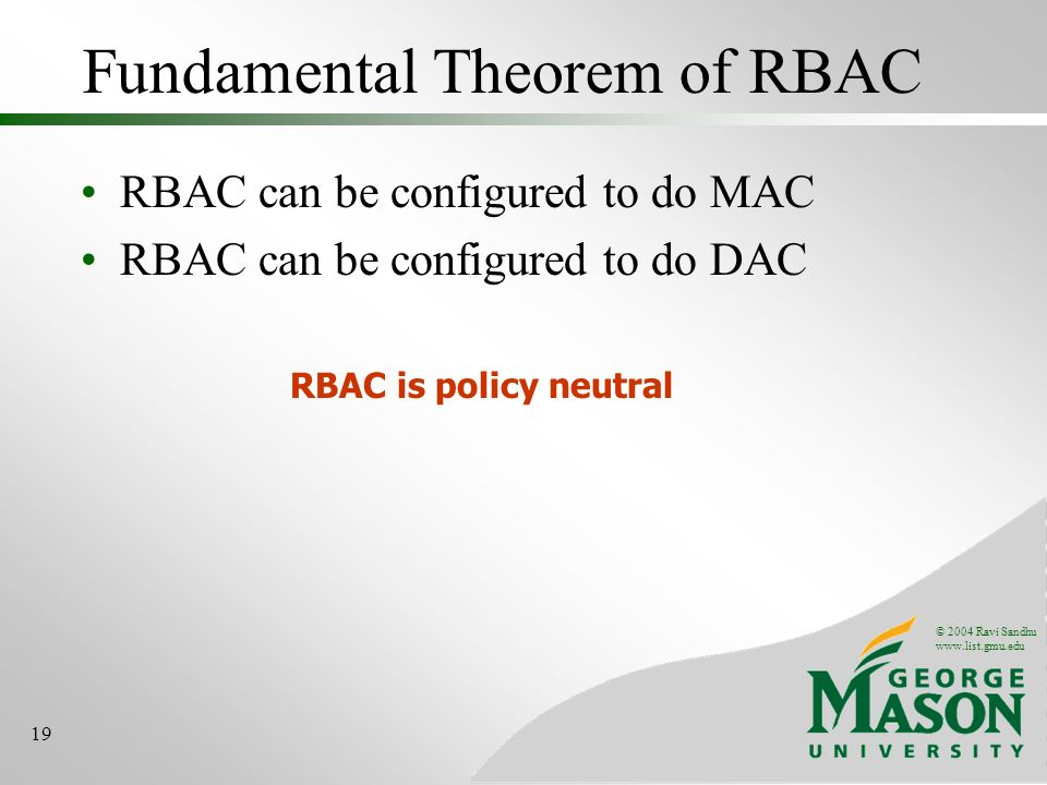 Fundamental Theorem of RBAC