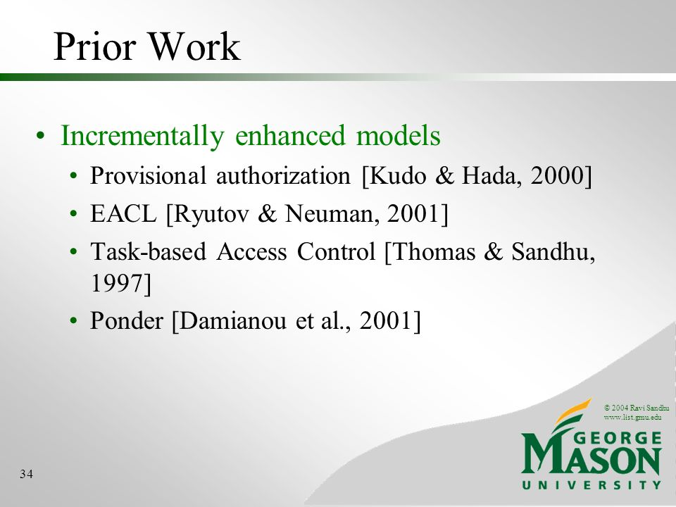 Prior Work Incrementally enhanced models