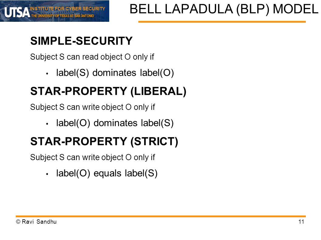 BELL LAPADULA (BLP) MODEL