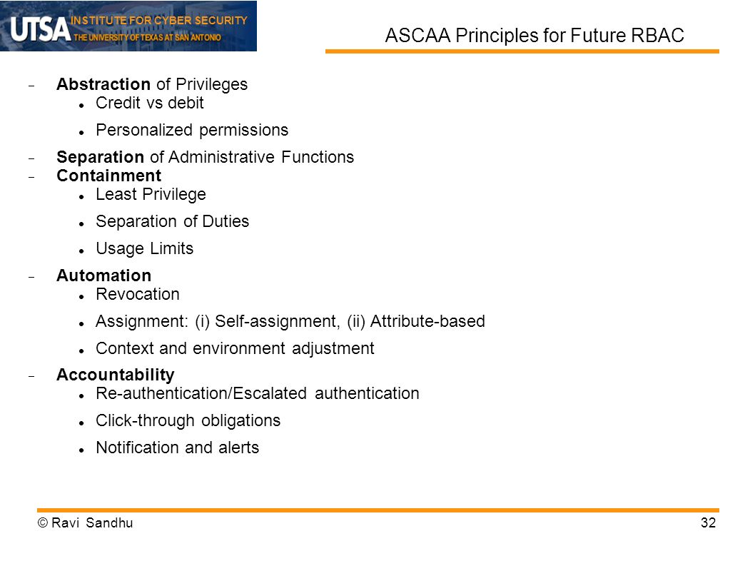 ASCAA Principles for Future RBAC