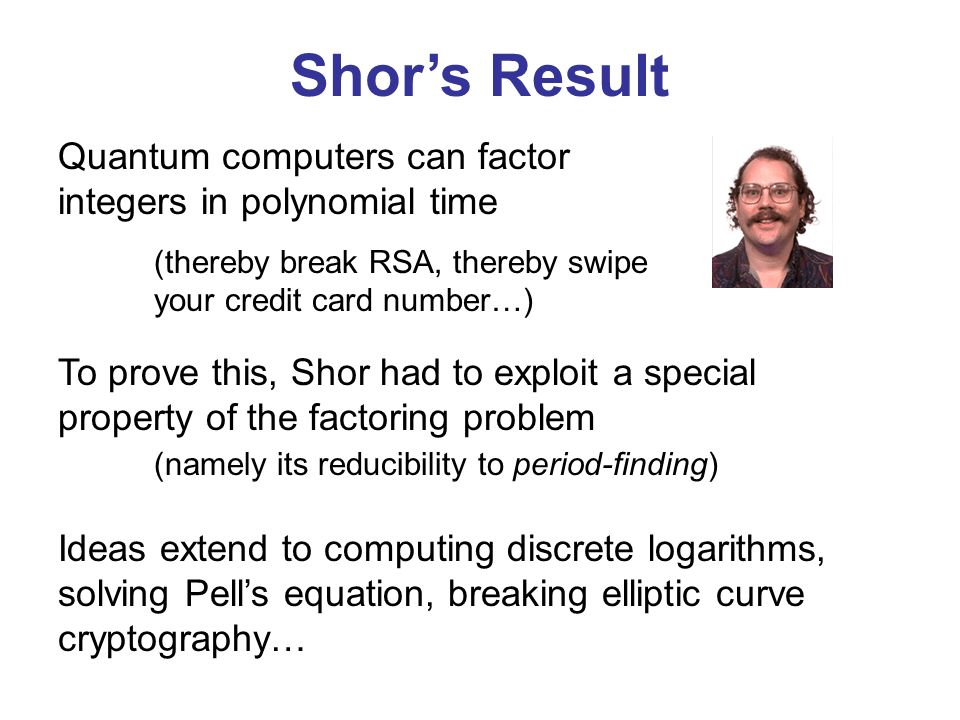 Shor's Result Quantum computers can factor integers in polynomial time