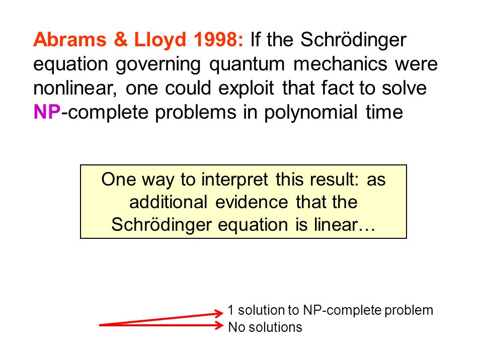Abrams & Lloyd 1998: If the Schrödinger equation governing quantum mechanics were nonlinear, one could exploit that fact to solve NP-complete problems in polynomial time
