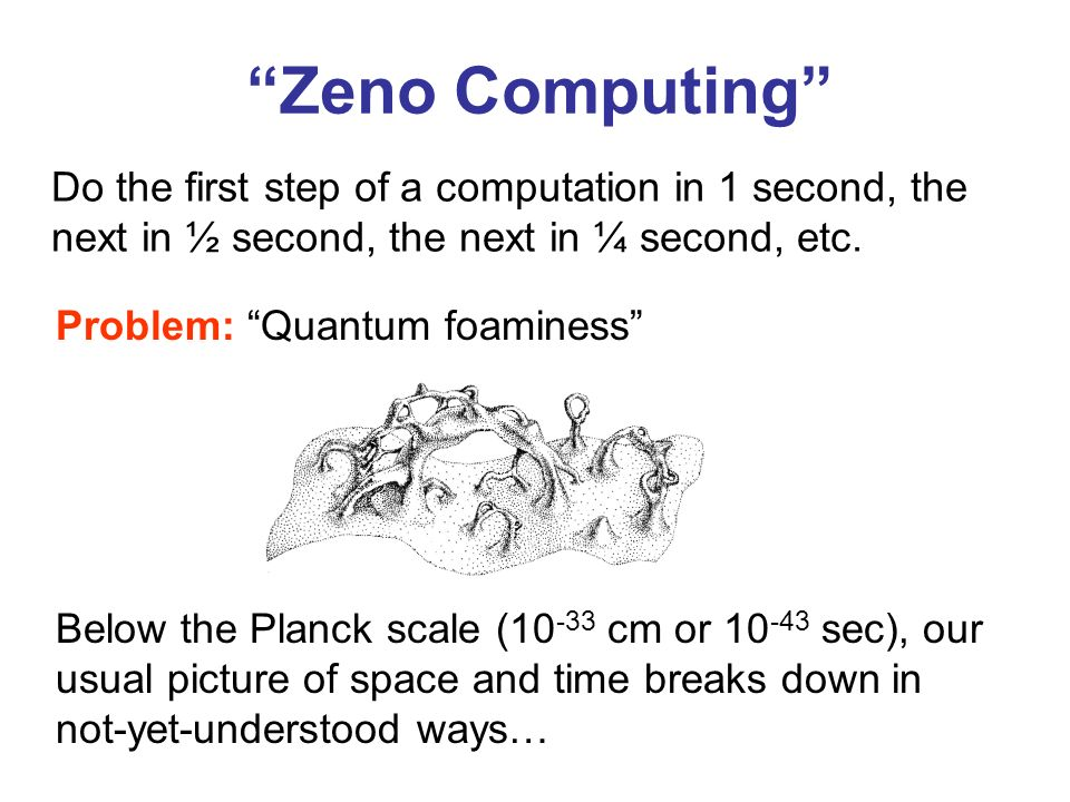 Zeno Computing Do the first step of a computation in 1 second, the next in ½ second, the next in ¼ second, etc.