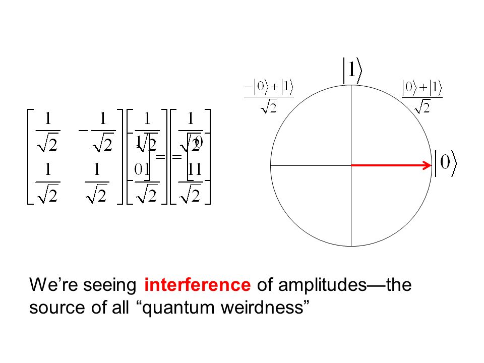 We're seeing interference of amplitudes—the source of all quantum weirdness