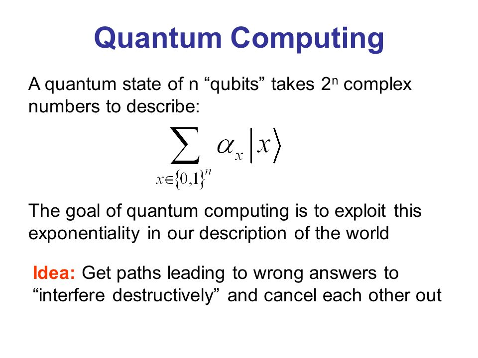 Quantum Computing A quantum state of n qubits takes 2n complex numbers to describe: