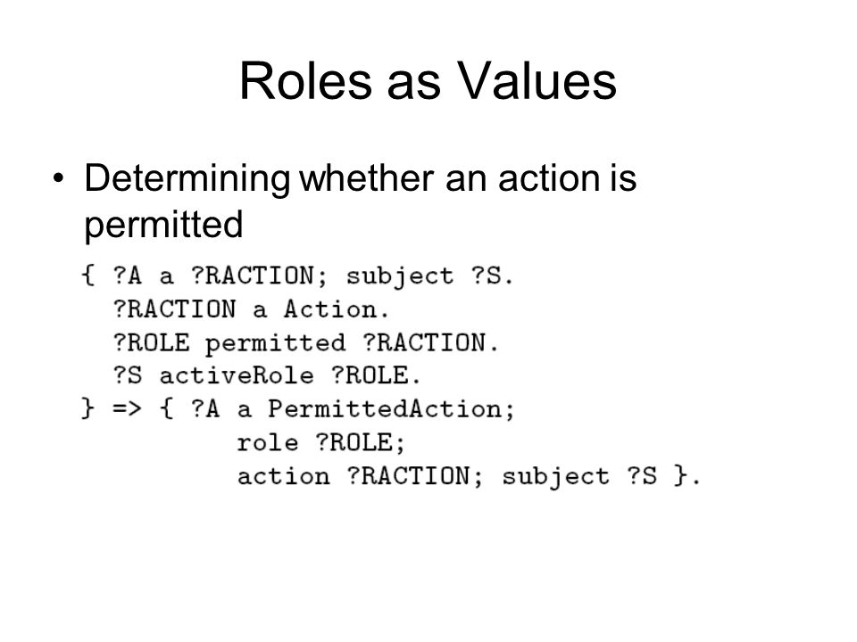 Roles as Values Determining whether an action is permitted