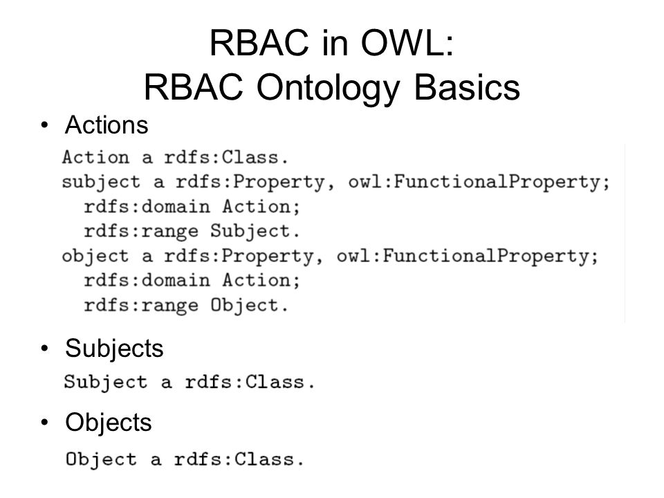 RBAC in OWL: RBAC Ontology Basics