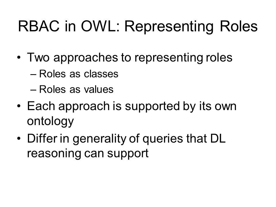 RBAC in OWL: Representing Roles