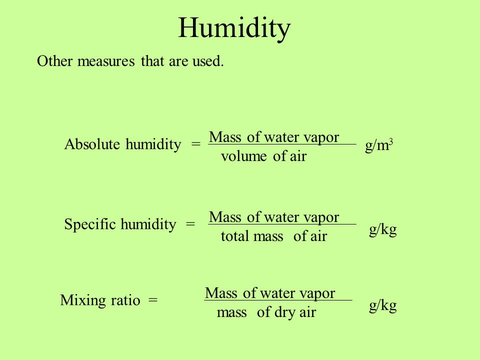 Humidity Other measures that are used. Mass of water vapor