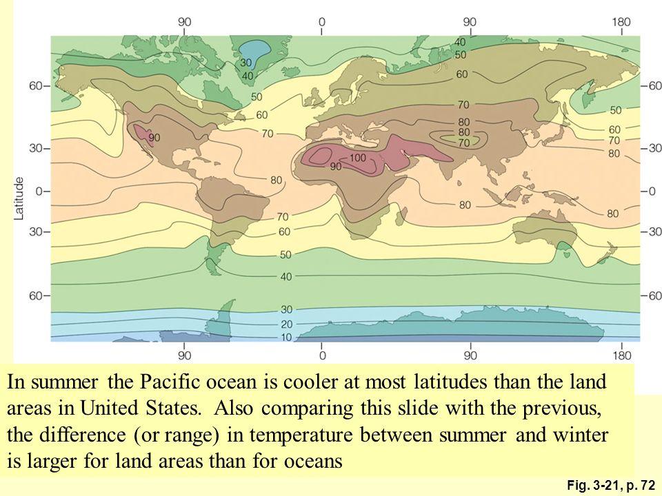 Figure 3.21 Average air temperature near sea level in July (°F).