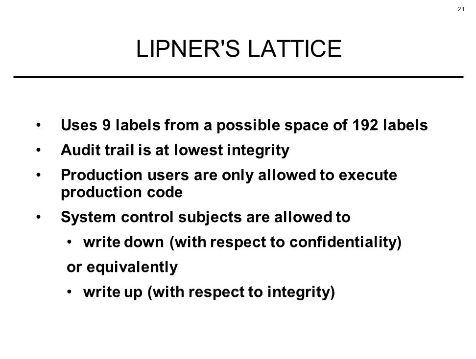 LIPNER S LATTICE Uses 9 labels from a possible space of 192 labels