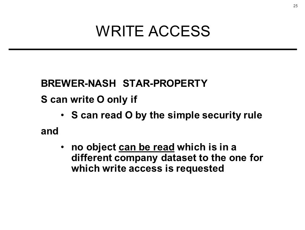 WRITE ACCESS BREWER-NASH STAR-PROPERTY S can write O only if