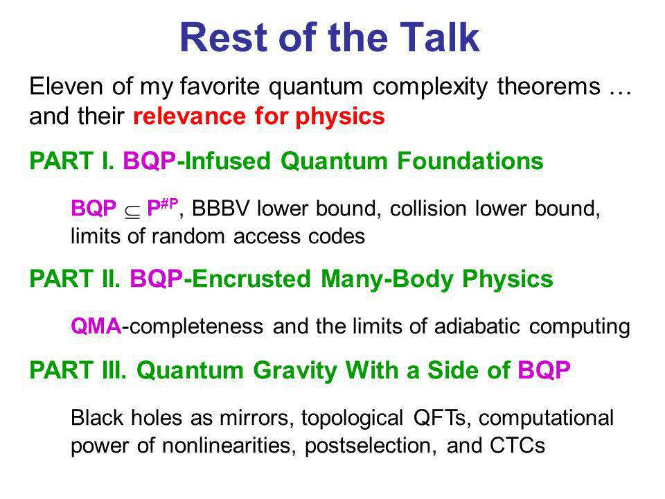 Rest of the Talk Eleven of my favorite quantum complexity theorems … and their relevance for physics.