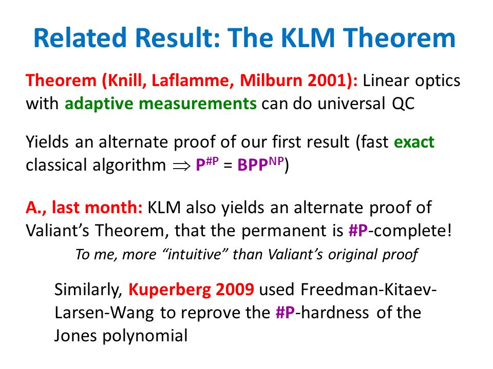 Related Result: The KLM Theorem