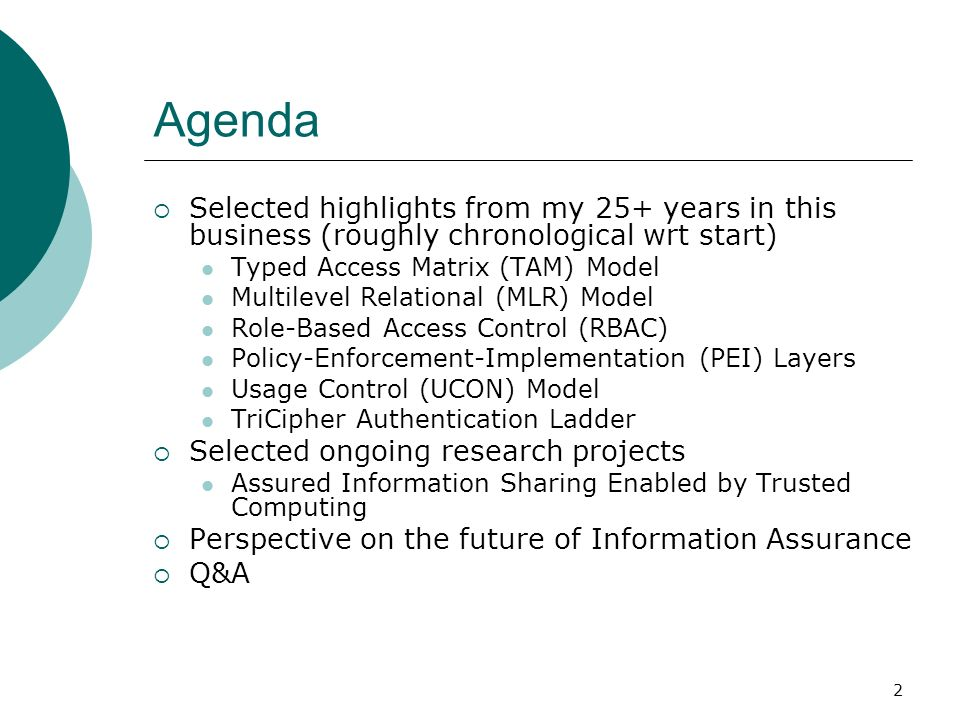 Agenda Selected highlights from my 25+ years in this business (roughly chronological wrt start) Typed Access Matrix (TAM) Model.