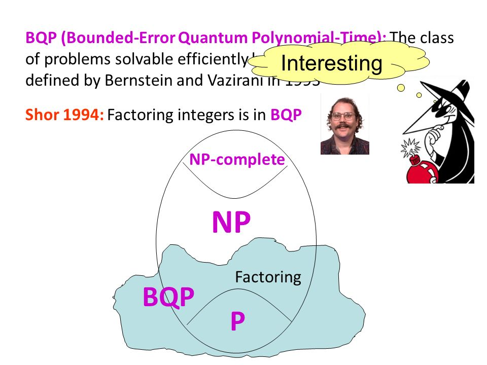 BQP (Bounded-Error Quantum Polynomial-Time): The class of problems solvable efficiently by a quantum computer, defined by Bernstein and Vazirani in 1993