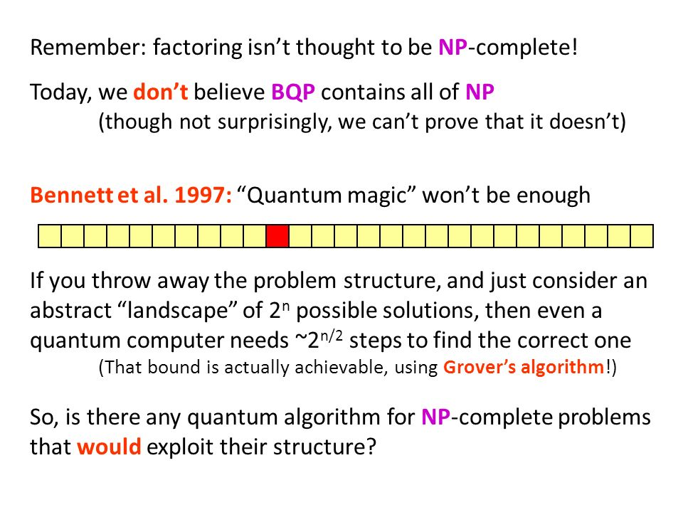 Remember: factoring isn't thought to be NP-complete!
