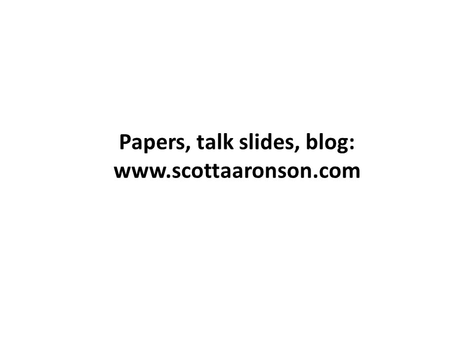 Papers, talk slides, blog: