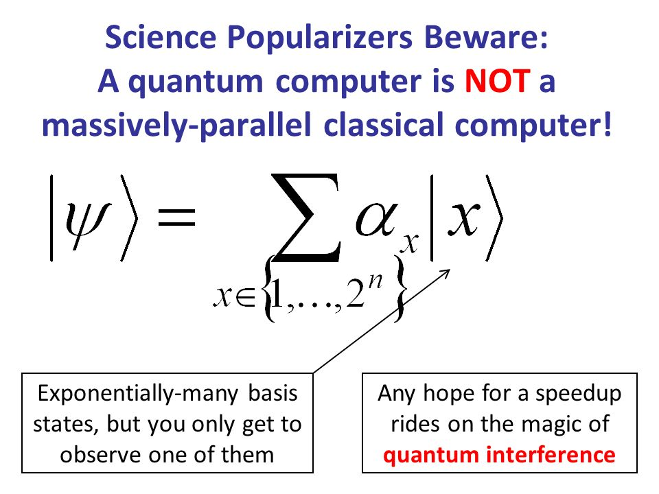 Any hope for a speedup rides on the magic of quantum interference
