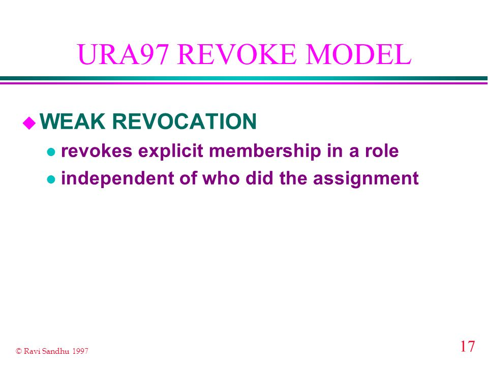 URA97 REVOKE MODEL WEAK REVOCATION