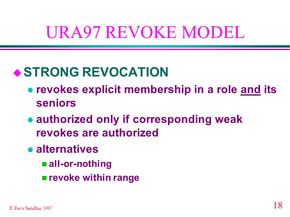 URA97 REVOKE MODEL STRONG REVOCATION