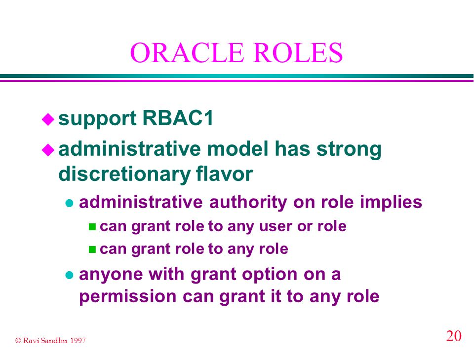 ORACLE ROLES support RBAC1