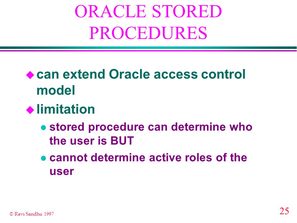 ORACLE STORED PROCEDURES