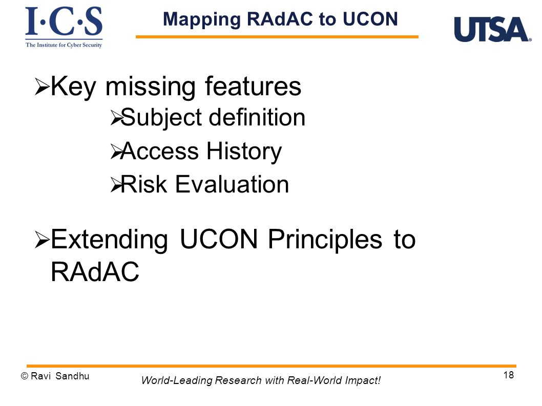 Extending UCON Principles to RAdAC
