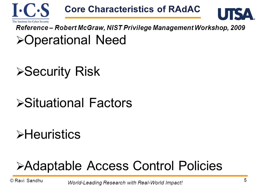 Core Characteristics of RAdAC
