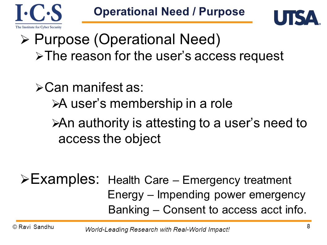 Operational Need / Purpose