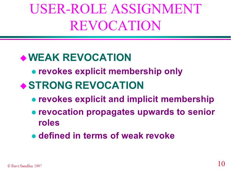 USER-ROLE ASSIGNMENT REVOCATION
