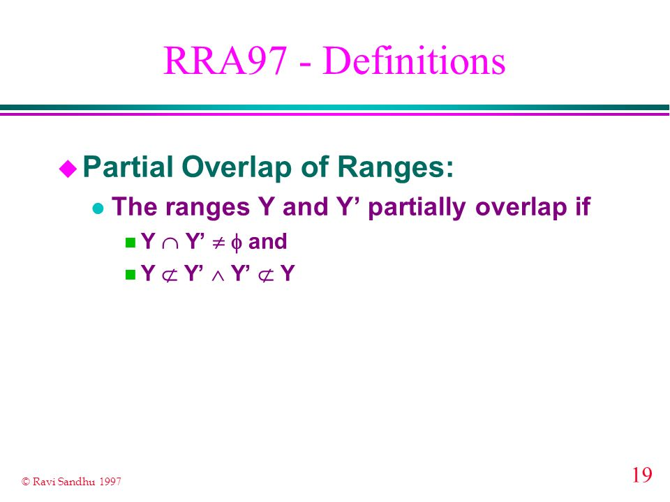 RRA97 - Definitions Partial Overlap of Ranges: