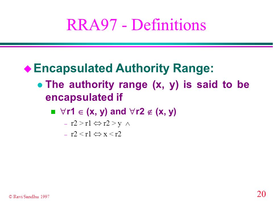 RRA97 - Definitions Encapsulated Authority Range: