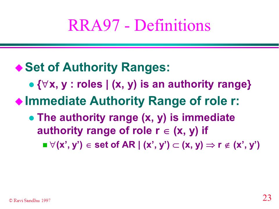 RRA97 - Definitions Set of Authority Ranges: